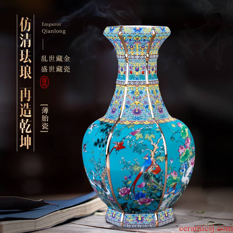 Jingdezhen porcelain qianlong vase Chinese style restoring ancient ways colored enamel furnishing articles flower arranging rich ancient frame sitting room adornment