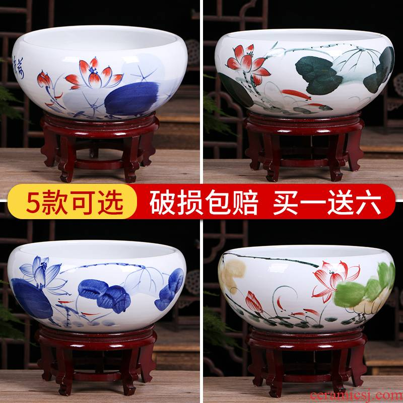Jingdezhen ceramic aquarium small desktop tortoise basin goldfish bowl lotus lotus cylinder cylinder household fish furnishing articles