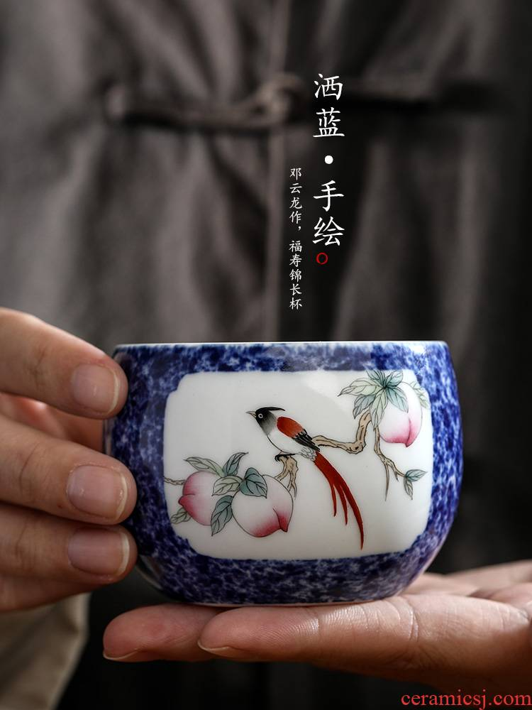 Hand draw flowers and birds masters cup single cup men 's jingdezhen kung fu tea cups sample tea cup only pure manual blue glaze tea set