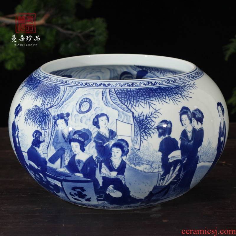 Jingdezhen blue and white writing brush washer from twelve gold hair pin high grade ladies double - sided painting luxurious blue and white porcelain gifts