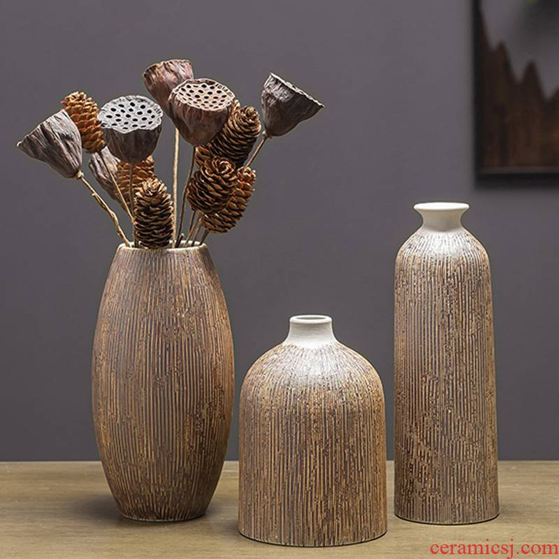 New frosted vertical stripes ceramic vase creative Nordic hydroponic flower arrangement, household soft outfit furnishing articles example room table