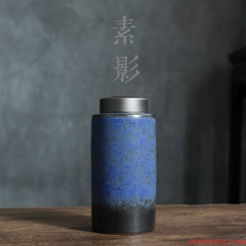 Qiao mu sealed tin lid ceramic pu 'er tea pot put POTS coarse pottery warehouse storage tanks with retro tea by hand