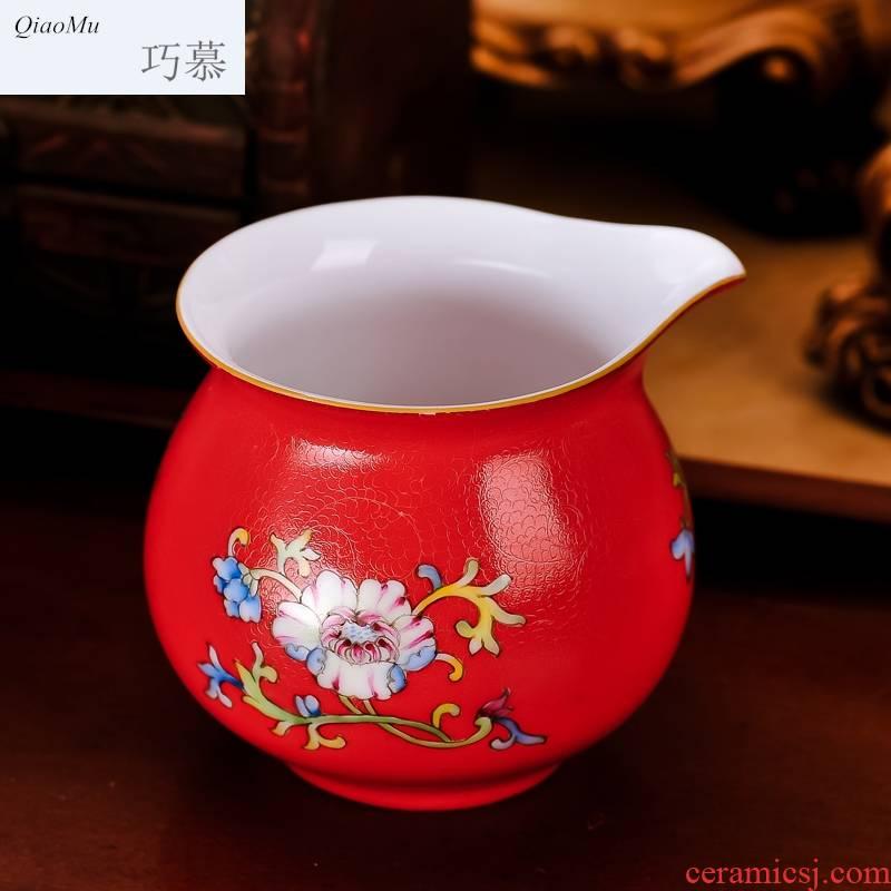 Qiao mu JYD jingdezhen ceramic tea set 6 grilled red flowers, tea cups tureen suit hand 絵 mixture