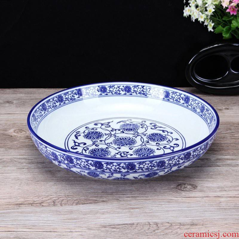 Blue and white porcelain bowl of fish plate pepper fish head plate pickled fish pot of boiled fish shallow bowl