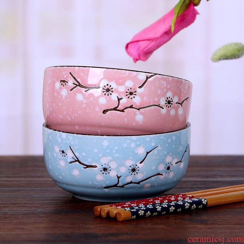 Painting Korean blooming flowers Painting green red flowers gifts chopsticks tableware of pottery and porcelain ipads porcelain bowl of gifts