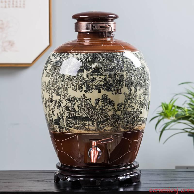 Jingdezhen ceramic jars seal save it 20 jins 50 kg hip home wine bottle liquor wine jars