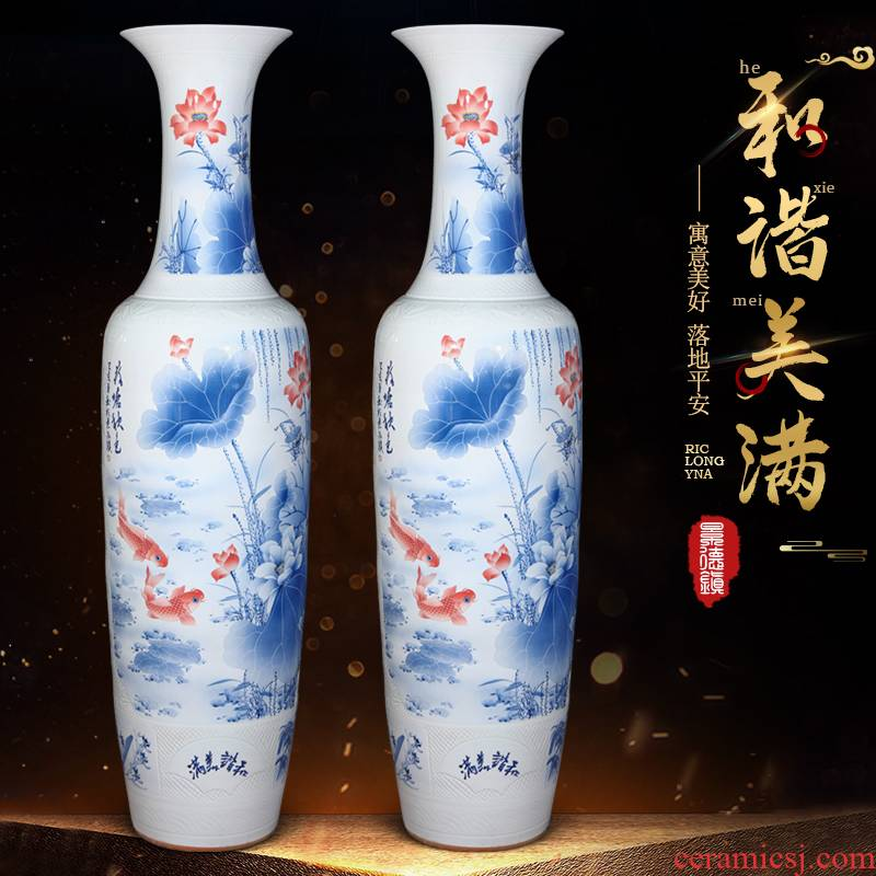 Jingdezhen ceramics of large blue and white porcelain vase furnishing articles of new Chinese style living room decorations to heavy large gifts