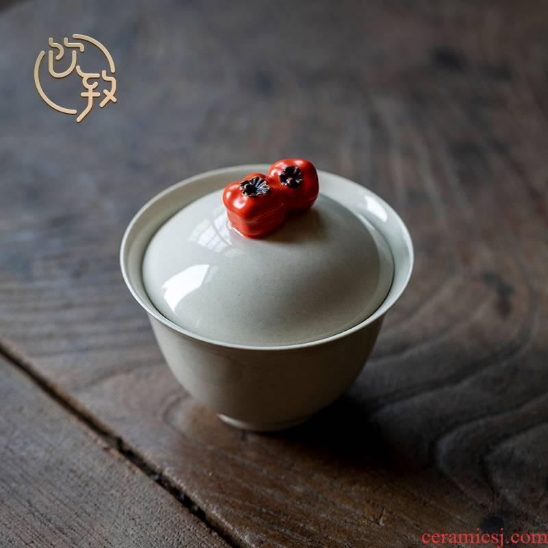 Ultimately responds to plant ash glaze manual tureen jingdezhen domestic tea tea set is not a single three cups of the bowl bowl