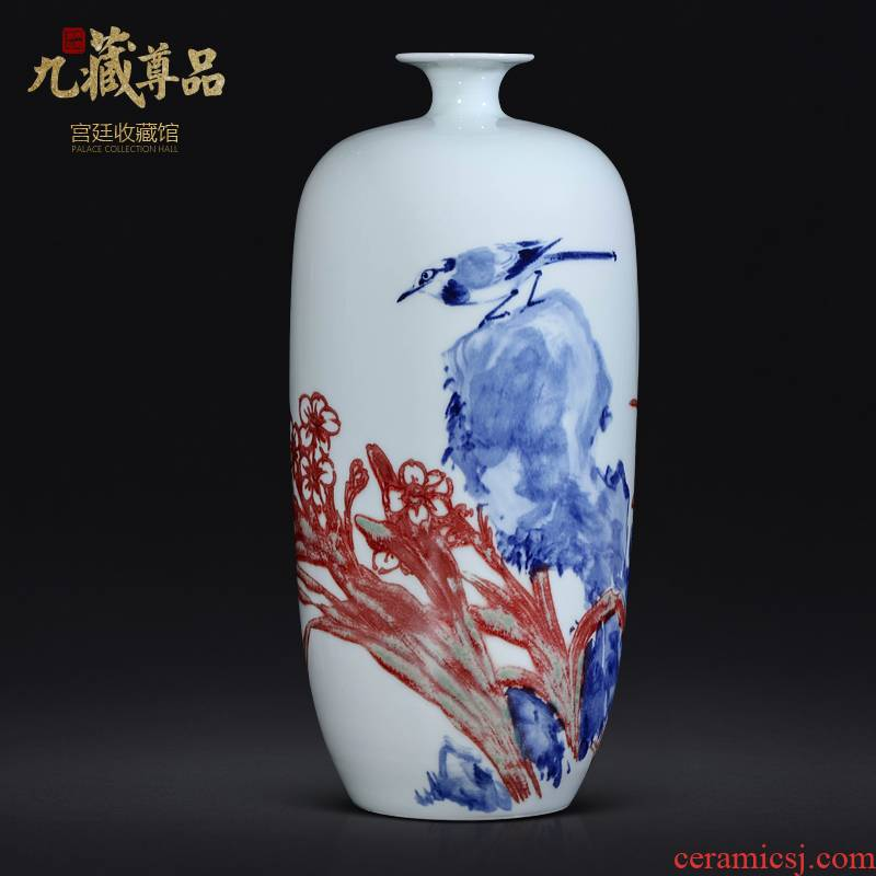 Dong - Ming li jingdezhen blue and white youligong vase hand - made ceramic Chinese style living room TV cabinet porch is decorated furnishing articles
