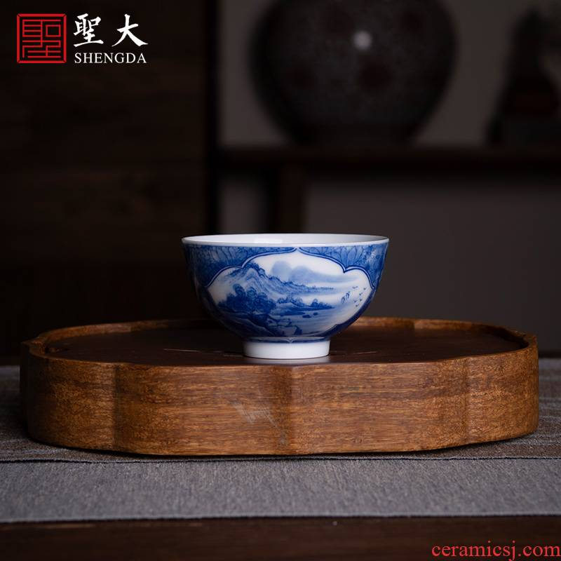 Holy big ceramic kung fu tea cup pure manual hand - made jingdezhen blue and white flower Windows landscape master cup sample tea cup
