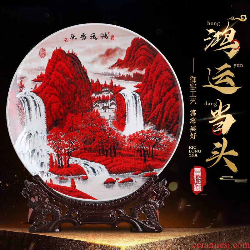 Jingdezhen ceramics luck, hang dish creative TV ark, home decoration of Chinese style of the sitting room porch place