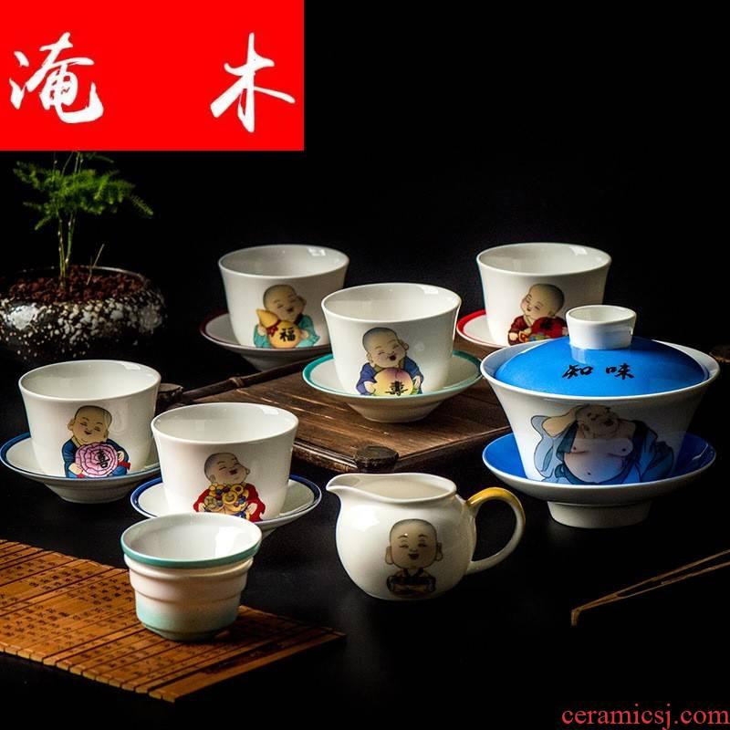 Submerged wood hand - made ipads China tea sets tea tureen kongfu tea cups custom - made designs