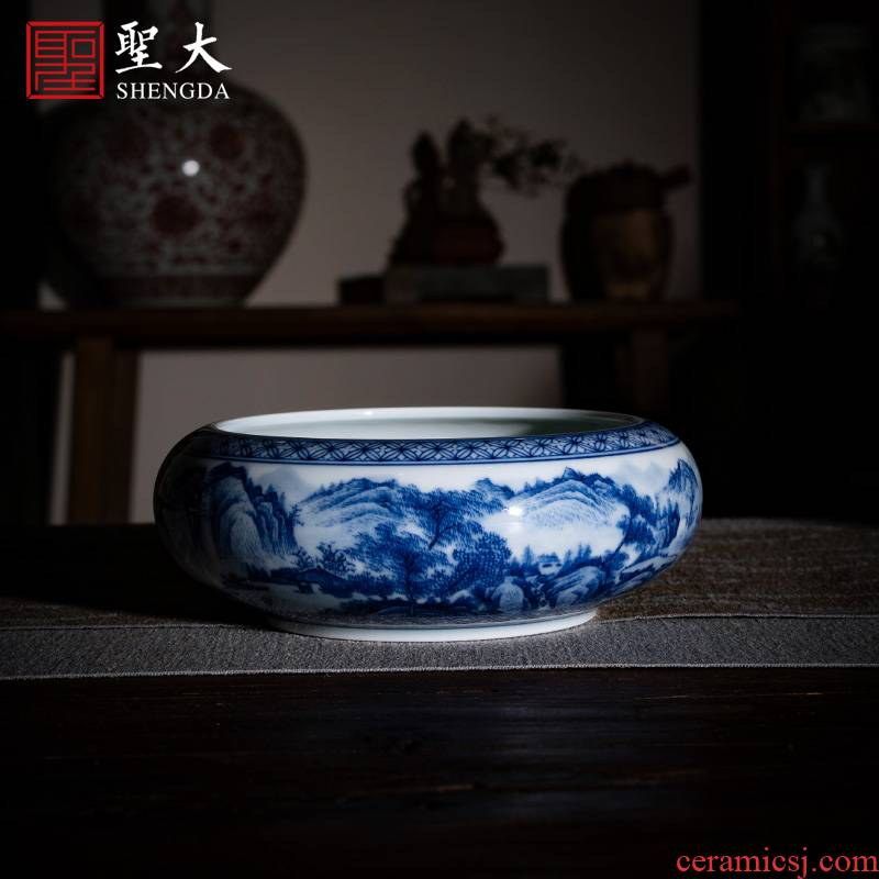 """Holy big ceramic kung fu tea cups jingdezhen blue and white """"jiangnan lookout"""" pure manual hand - made cheng masters cup water"""