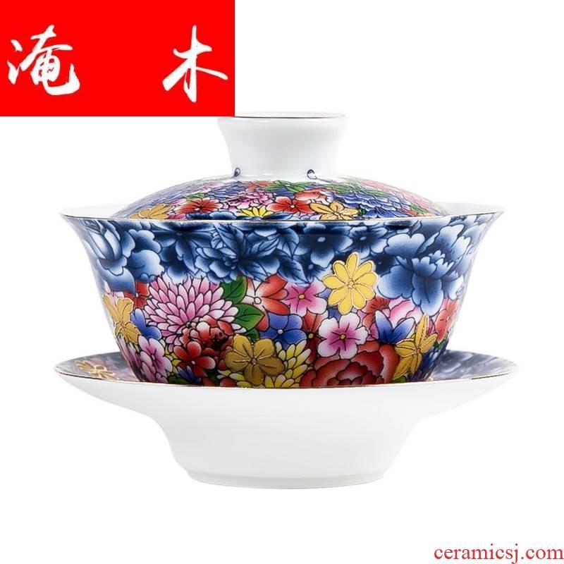 Flooded three just tureen hand paint on wood colored enamel flower ceramic kung fu tea tea cups to use