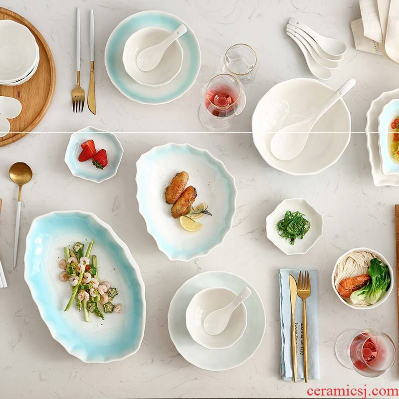 The Fish dish dish dish dumplings creative ceramic plate of the Nordic circular plate steamed Fish with irregular continental plate