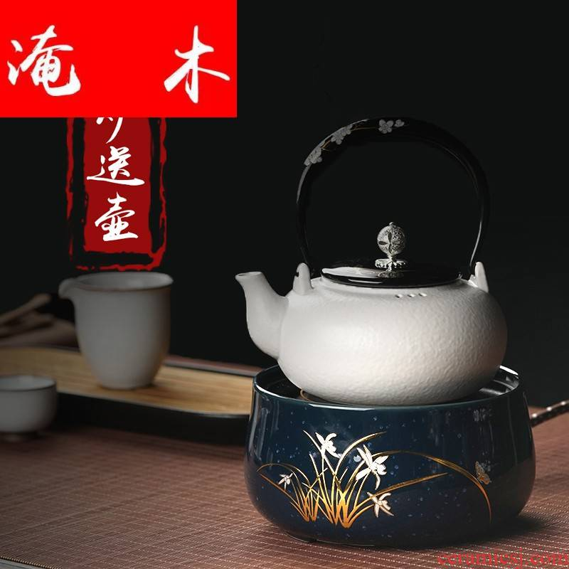 Submerged wood silent electric TaoLu boiling tea kettle don 't pick pot of mini tea pot of large white clay POTS to girder
