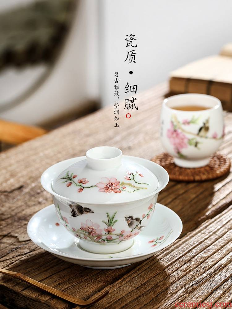 Xu, Jiaxing hand - made light peach three water tureen female tea cups pure manual jingdezhen ceramic bowl with kung fu