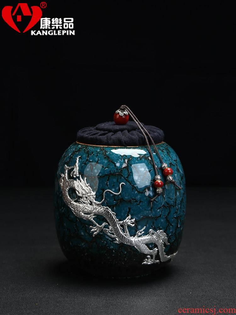 Recreational product temmoku built light silver ceramic tea pot mini colored enamel storage sealed packaging tea tea