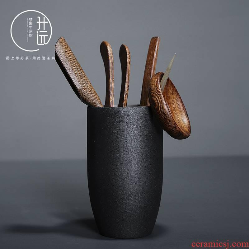 Coarse pottery six gentleman 's suit retro ceramic ChaGa ebony wood tea tea spoon ChaZhen kung fu tea accessories