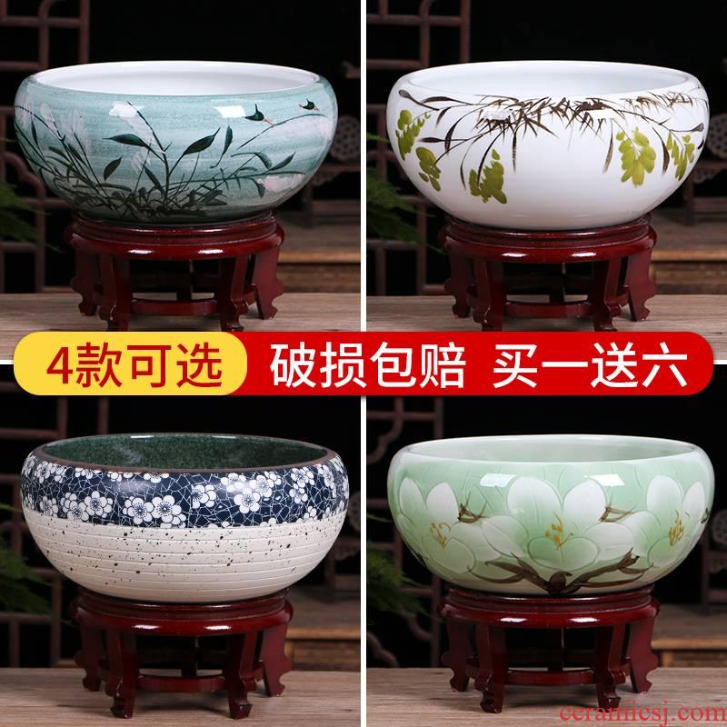Jingdezhen ceramic aquarium small feng shui living room home desktop goldfish bowl aquarium fish basin refers to the basin