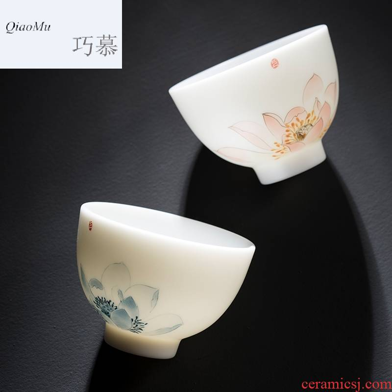 Qiao mu CMJ dehua suet white jade porcelain teacup up large - sized ceramic sample tea cup pastel personal master