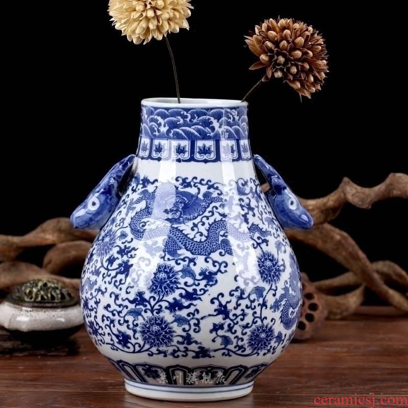 Jingdezhen blue and white porcelain vase put lotus flower dragon ceramics ears flower Chinese handicraft furnishing articles to the living room