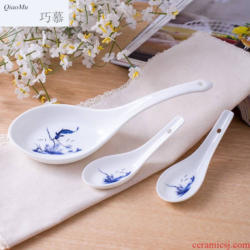 Qiao mu tablespoons of ipads China jingdezhen lead - free glaze ceramic spoon big spoon, run out from year to year