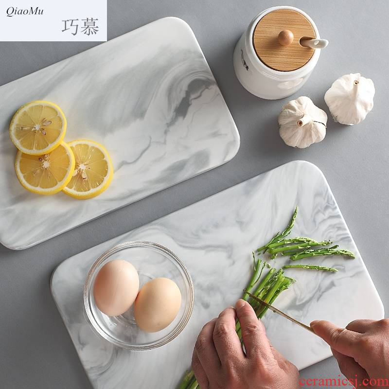 Qiao mu DHT northern wind marble block, flat ceramic cooking fruit tray food posed SaPan