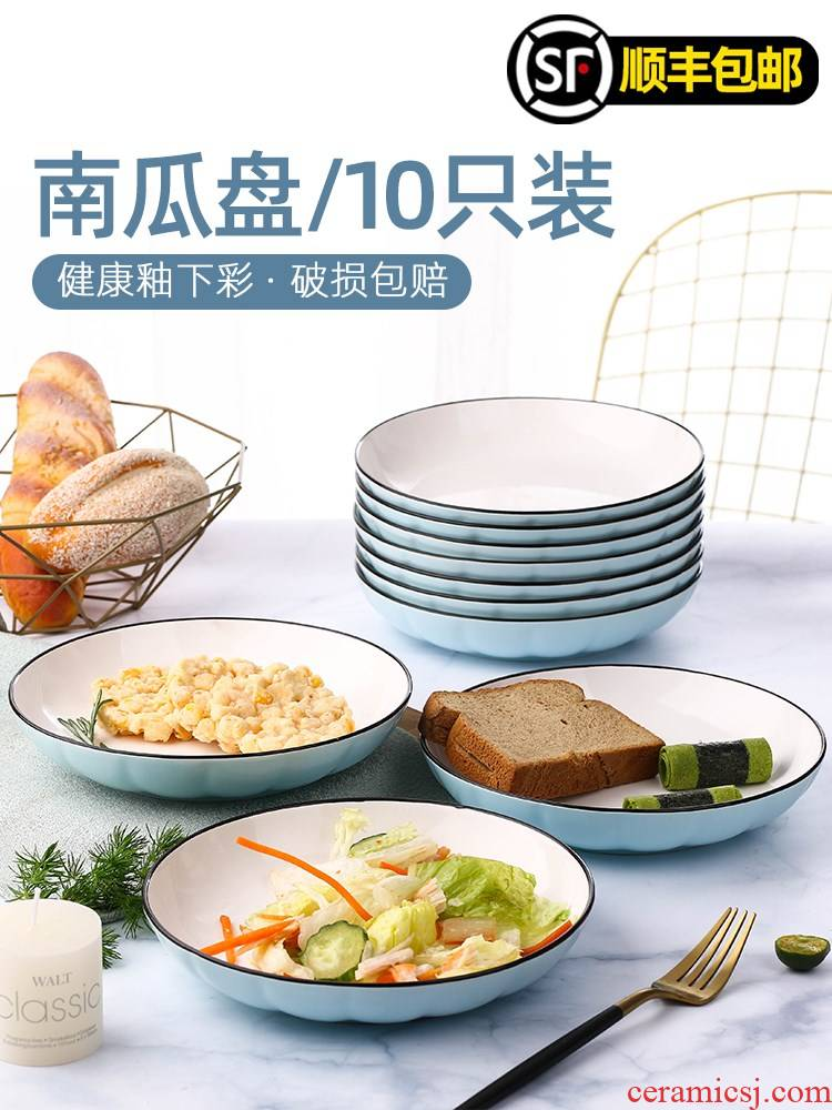 Household food plate combination 2/4/10 a Japanese web celebrity creative plate suit ceramic plate large plate