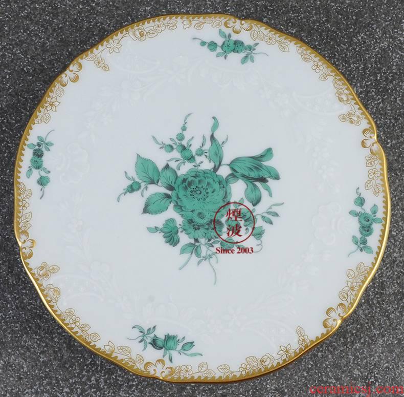 German mason MEISSEN porcelain new cutting Copper Green pot saucer