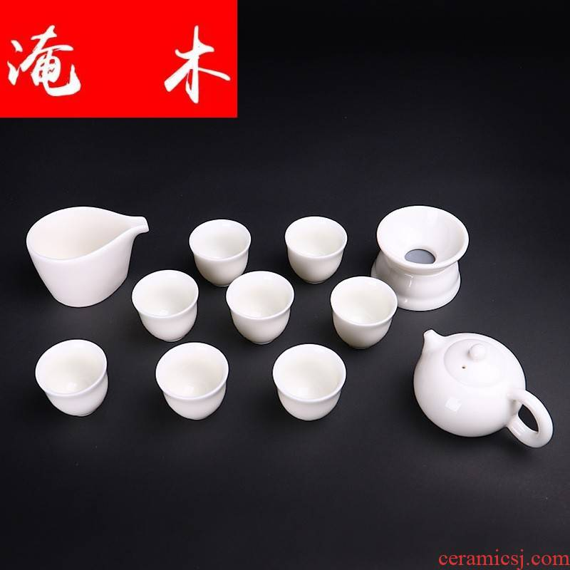 Submerged wood dehua for pure white porcelain tureen tell white porcelain xi shi 8 head ceramic pot of kung fu gift tea set