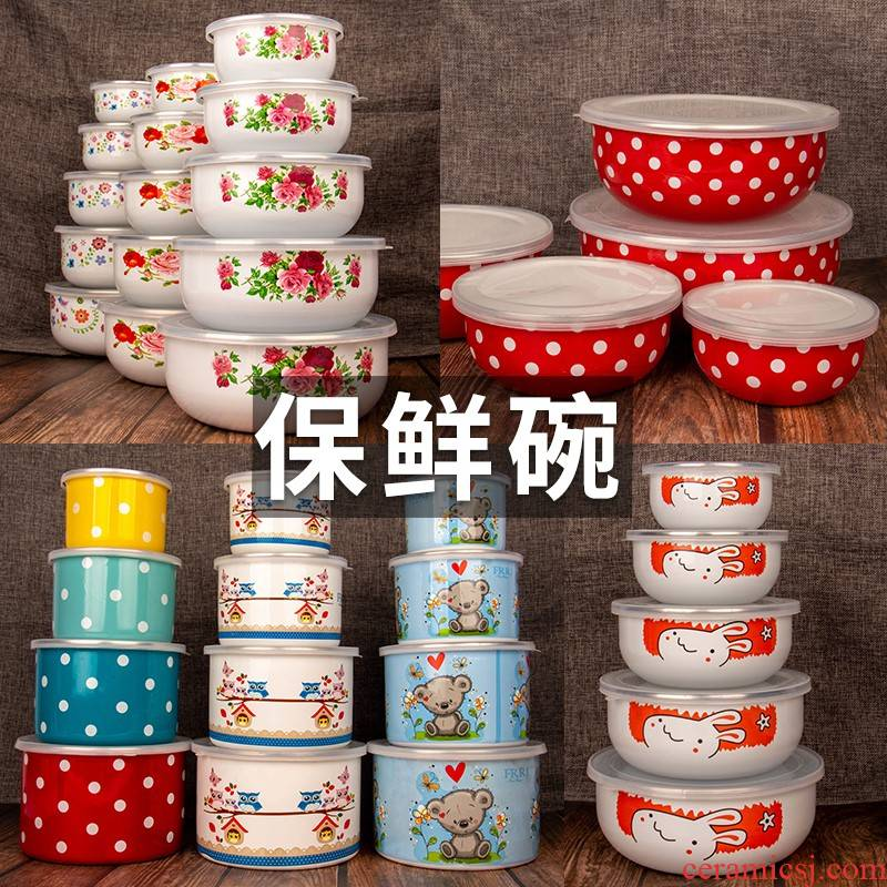 Enamel Enamel baby fresh separated type lunch bowl bowl meal boxes assist food workers receive always suit the fridge