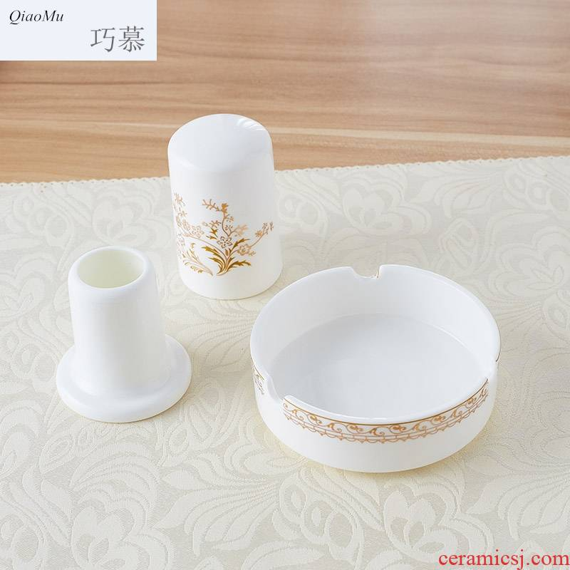 Qiao mu ipads porcelain ceramic small ashtray ashtray toothpicks extinguishers toothpick box can form a complete set of tableware European gold