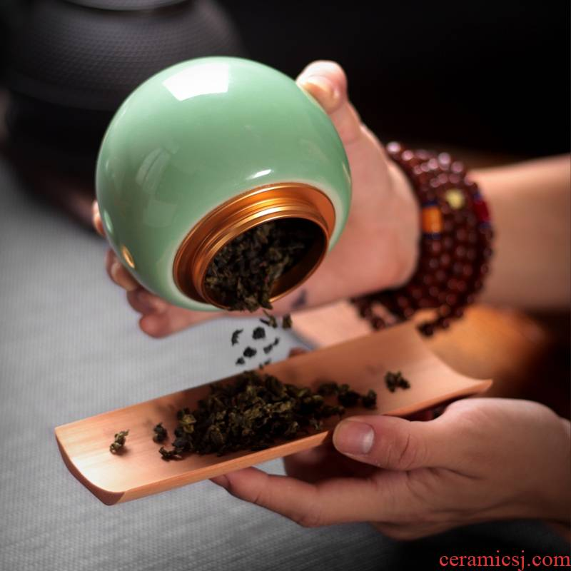 Qiao mu QYX longquan celadon caddy fixings ceramic seal POTS pu - erh tea pot ceramic tea tea ware