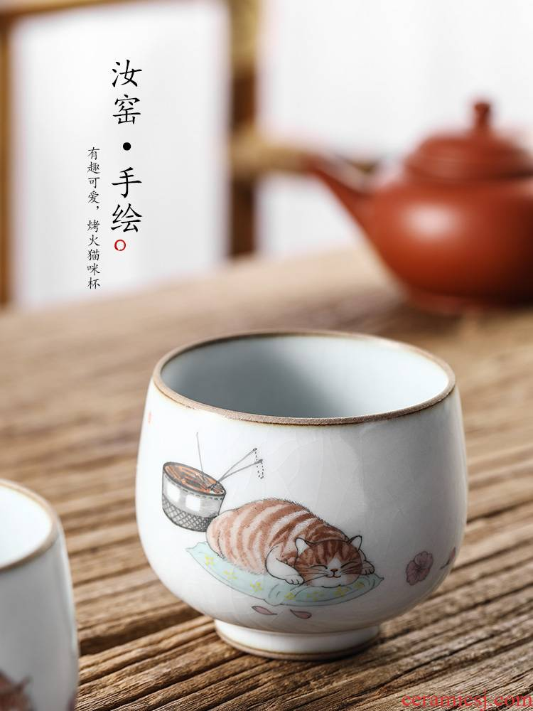 Your up with pure manual kongfu master cup single CPU jingdezhen ceramic sample tea cup single hand - made the cat getting cups
