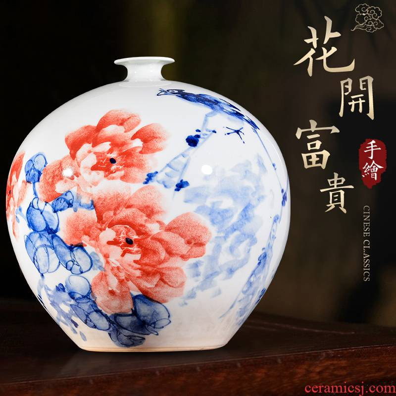 Jingdezhen ceramic hand - made blooming flowers, pomegranate bottles of porch decorate sitting room rich ancient frame handicraft furnishing articles
