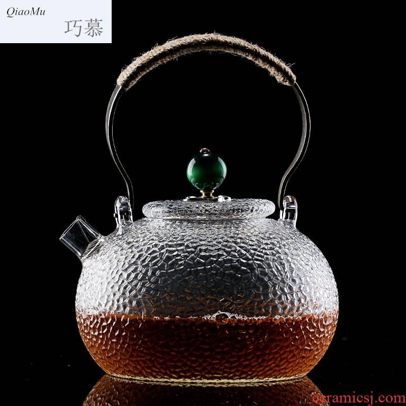 Qiao mu thickening high - temperature Japanese manual hammer glass kettle electric TaoLu cooking pot copper girder pot of tea