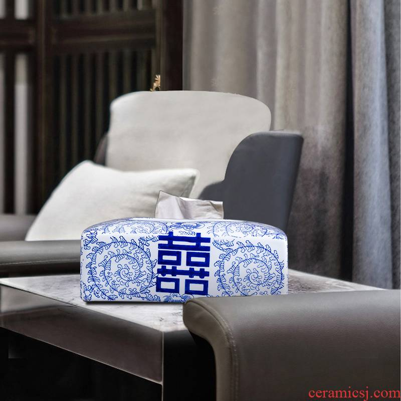 The New Chinese hand - made porcelain of jingdezhen ceramic tissue box furnishing articles home sitting room tea table decoration simple ideas