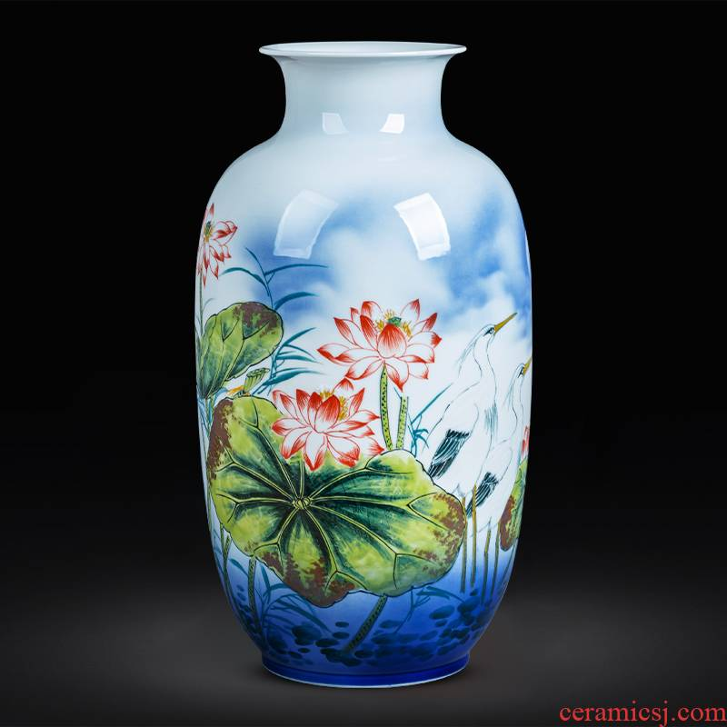 Jingdezhen ceramics hand - made lotus flower vase landed large new sitting room adornment of Chinese style household furnishing articles furnishing articles
