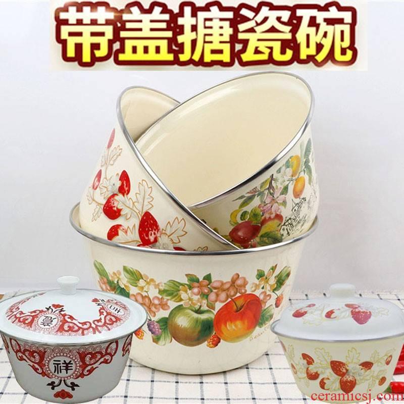 Old vintage boutique thickening enamel basin with cover the sink lard vegetable stir the food can get medicine