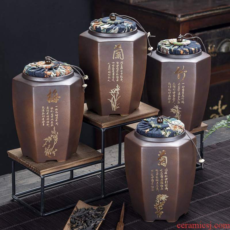 Hui shi in large - sized ceramic creative caddy fixings firewood seal pot of tea packaging mini storage tank customized LO