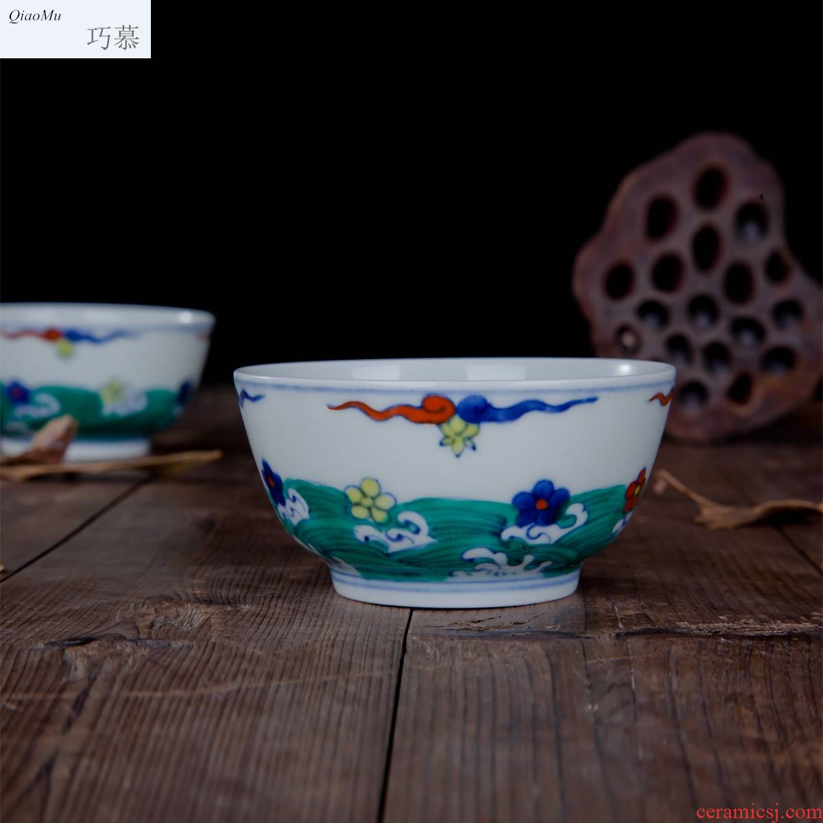Qiao MuMing chenghua chicken color bucket cylinder cup jingdezhen hand - made manual archaize ceramic tea cups