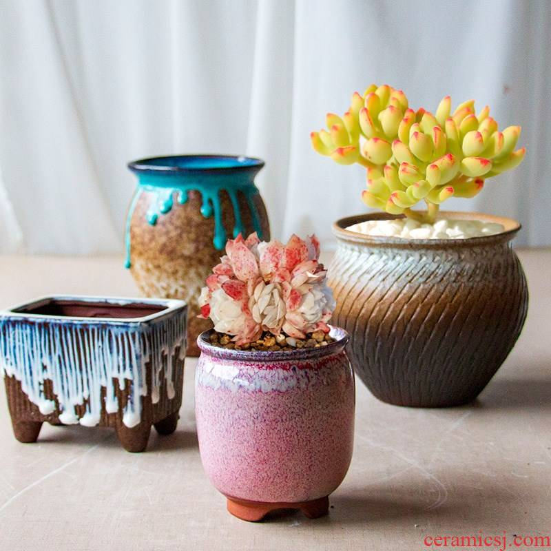 Fleshy flowerpot creative hand - made ceramic purple manual splash ink size diameter special offer a clearance grind arenaceous basin