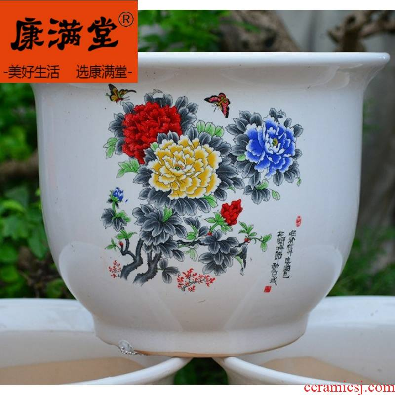 Flower pot diameter above 30-40 large ceramic oversized 50 cm high cm clearance package mail a single L to plant trees