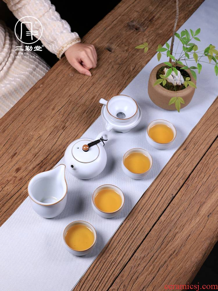 The three frequently your up kung fu tea set home sitting room tea jingdezhen ceramic cups office receive a visitor The teapot