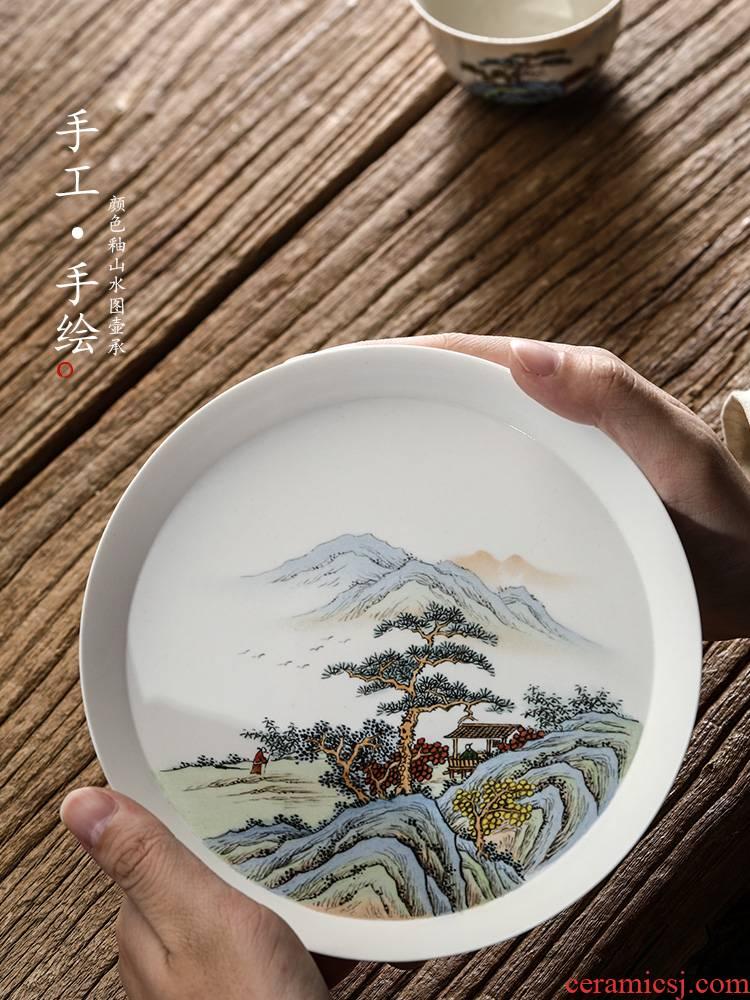 Plant ash glaze POTS dry socket sets jingdezhen hand - made scenery Japanese tea 12 water checking ceramic tea tray