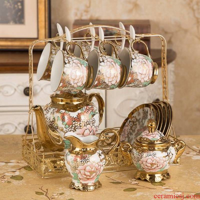 Household 16 coffee cup suit set with a complete set of European ipads porcelain ceramic cups and saucers tea cups Household water bottle