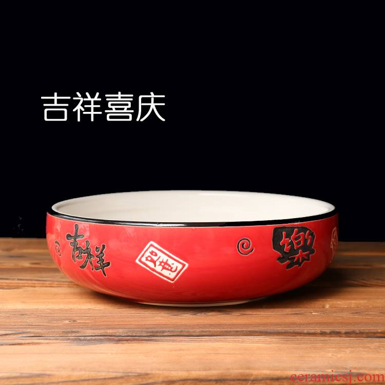 More music feast red bowl of soup bowl of household food bowl of the big yards against the hot ceramic bowl dish bowl can be customized