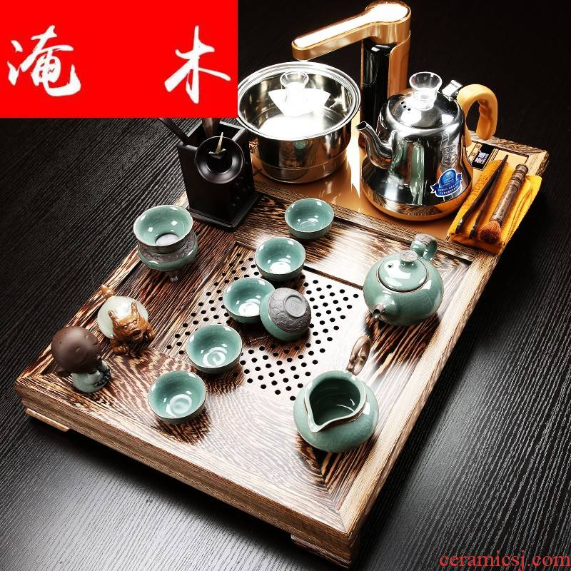 Flooded wenge wood tea tray with violet arenaceous kung fu tea sets tea cup contracted solid wood tea tea sea induction cooker