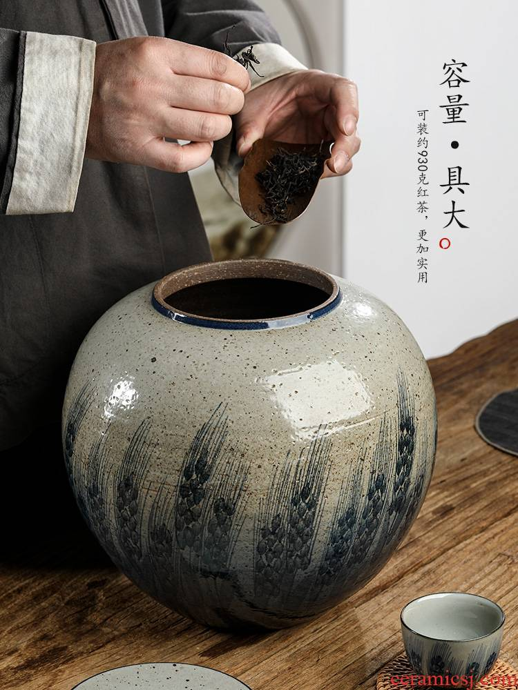 Jingdezhen blue and white caddy fixings hand - made ceramic checking clay large storage tanks seal tea pot of household utensils
